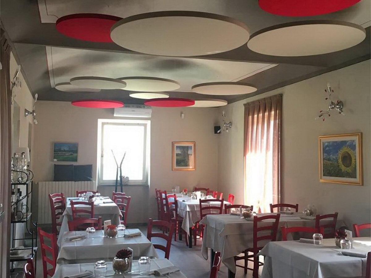 Round-acoustic-panels-restaurant-ceiling