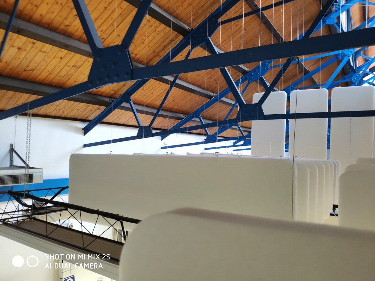 Ceiling-acoustic-treatment-suspended-baffles