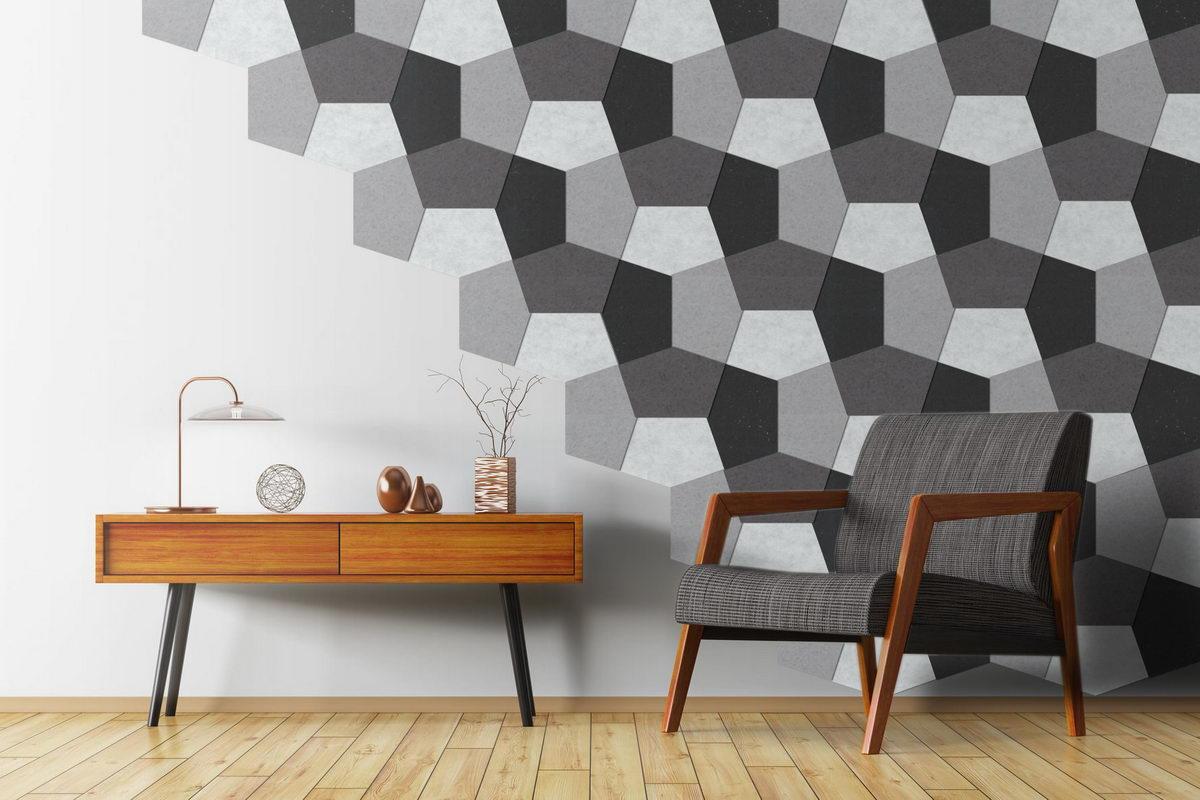Walltone Acoustic Design PENTAGON grey wallcovering system